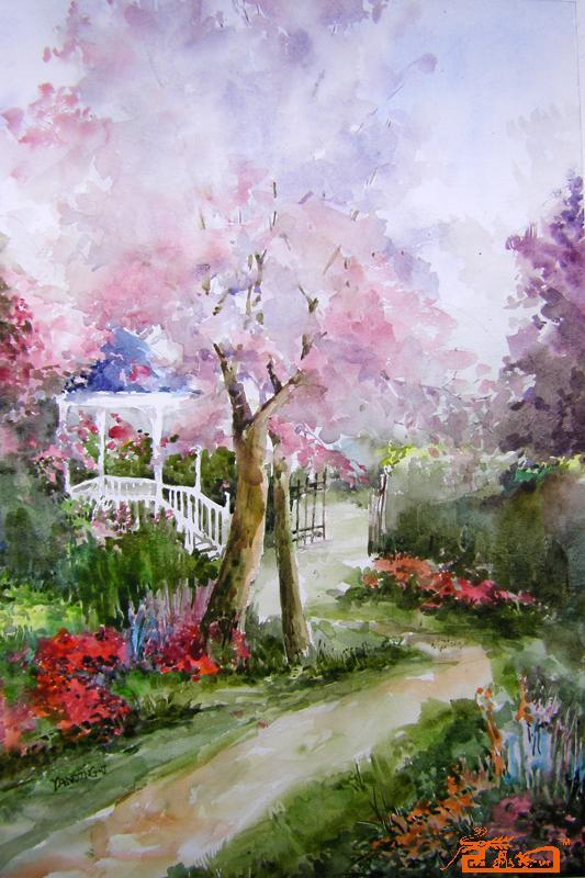 名家 闫晶晶 水彩 - 风景-花园