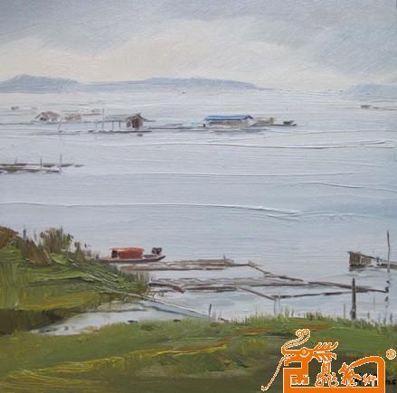 油画名家 周华刚 - 《东江湖白廊风景》